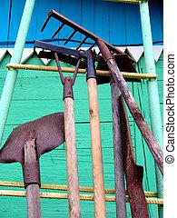 Gardening Tools - Gardening tools stored outdoors