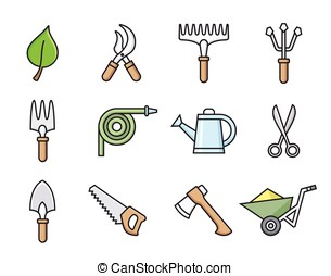 Gardening tools icons - Gardening tools icon set. Vector...