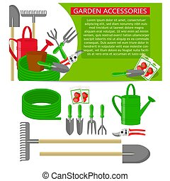 Gardening tools icons isolated on white background. Banner template with Gardening tools.