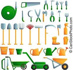 Gardening tools icons set, cartoon style