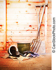 gardening tools in shed