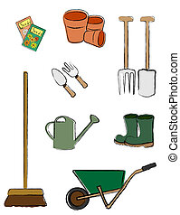 Gardening tools isolated - A vector illustration depicting...