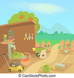 Gardening tools landscape concept, cartoon style
