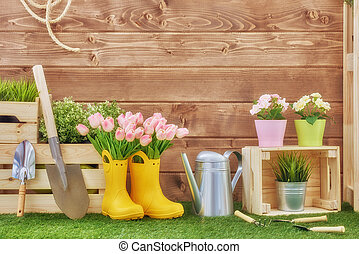 Gardening tools on the grass in the backyard. Fresh flowers...