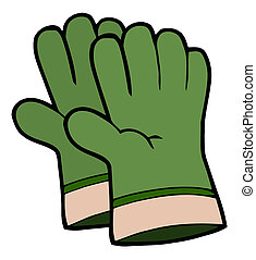 Pair Of Green Gardening Hand Gloves - Gardening Tools-Pair ...