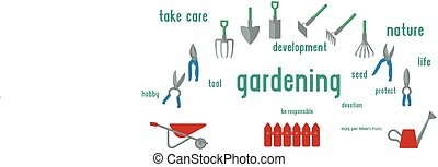 Gardening tools set of illustration. Flat design using UI colours, surrounded by concept.