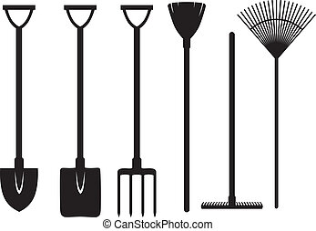Set of silhouette images of gardening tools