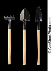 Gardening tools, shovels, and rake