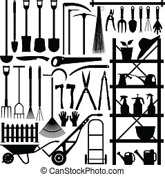 A large set of gardening tool and equipment in silhouette.