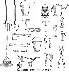 Gardening tools sketches for farming design - Watering can...