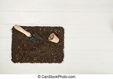 Gardening tools top view on white wooden planks background