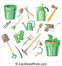 Gardening Tools Vector Illustration Set - Gardening Tools...