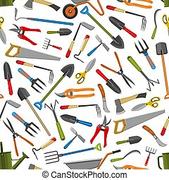 Gardening tools vector seamless pattern background -...