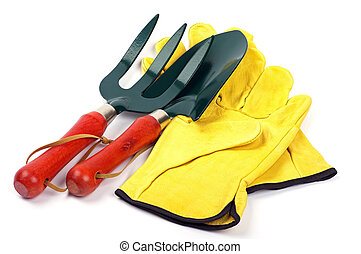 gardening trowl fork and gloves