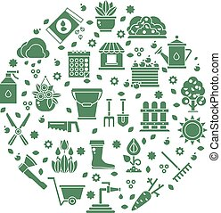 Gardening vector logo with garden tools icons