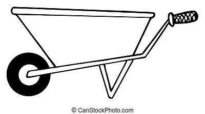 Gardening Wheel Barrow - Coloring Page Outline Of A...