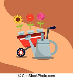 gardening wheelbarrow flowers in pot watering can