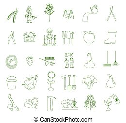 Gardening work, farming icon set. Flat style design