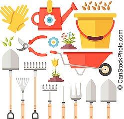 Gardening work tools flat icons set
