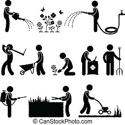 Gardening Work Worker Gardener - A set of human figure and...