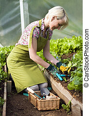 Gardening - Young woman gardening in glasshouse close up