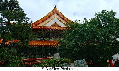 Gardens and Façade of Wong Tai Sin Temple in Hong Kong, China