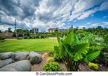 Gardens at Elizabeth Park, in Elizabeth, Charlotte, North Carolina.