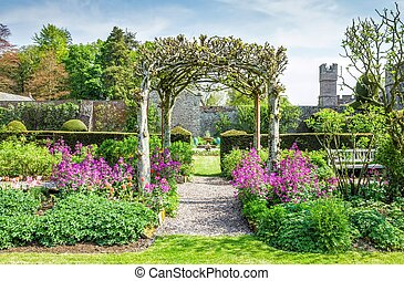 Gardens at Hutton in the Forest, Cumbria, England - Trellis...