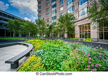 Gardens at the Prudential Center Plaza, in Back Bay, Boston, Massachusetts.