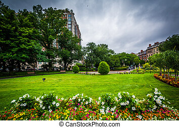 Gardens at the Public Garden, in Boston, Massachusetts.