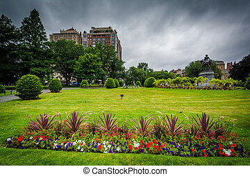 Gardens at the Public Garden, in Boston, Massachusetts.
