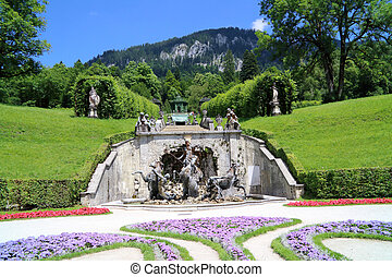 Gardens of baroque castle Linderhof in the Graswangtal in Ettal Germany