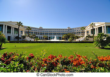 Gardens of luxury resort - Wide angle view of a luxury ...