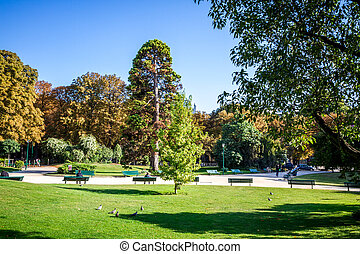 Gardens of the Champs Elysees, Paris, France