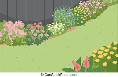 Illustration of a Gardenscape Design with Different Kinds of Flowers as Borders