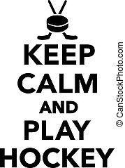 garder, calme, hockey, jeu