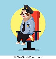 garder, dormir, quand, police, paresse