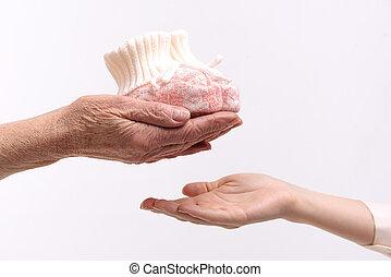 garder, femme, tissu, mûrir, enfant, petit