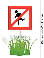 garder, herbe, fermé, signe