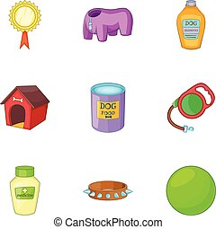 garder, icônes, ensemble, style, animaux familiers, dessin animé