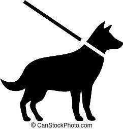 garder, laisse, vecteur, chiens, signe
