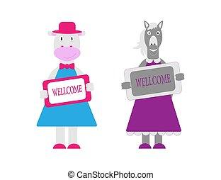 garder, plaque., illustration, style., caractères, ensemble, vecteur, cheval, animaux, dessin animé, vache, wellcome, ferme, plat, mignon