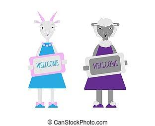 garder, plaque., mouton, illustration, style., caractères, chèvre, ensemble, vecteur, animaux, dessin animé, wellcome, ferme, plat, mignon