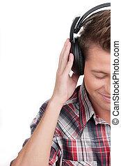 garder, sien, headphones., image, écouteurs, jeune, tondu, isolé, quoique, fermé, blanc, homme, yeux, beau