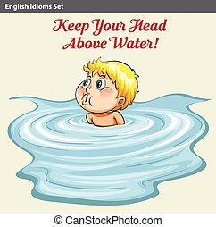 garder, sien, tête, eau, au-dessus, homme