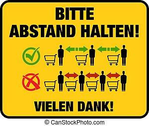 garder, supermarchés, remercier, signe, allemand, vous, s'il vous plaît, ton, proverbe, magasins, distance, langue