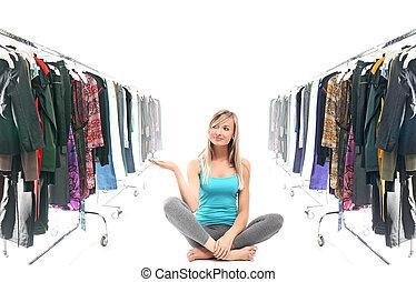 garderob, blondin, stillhet, skönhet