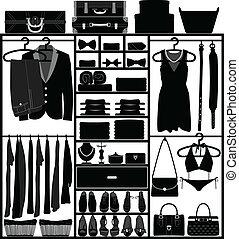 garderob, kvinna, skåp, skåp, man