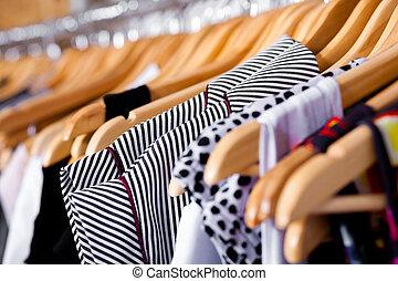 garderob, multi-coloured, närbild, utställningsmonter
