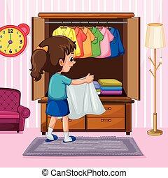 garderob, tyg, flicka, vikbar